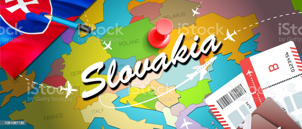Slovakia travel concept map background with planes,tickets. Visit Slovakia travel and tourism destination concept. Slovakia flag on map. Planes and flights to Slovak holidays to Bratislava,Kosice'n vector art illustration
