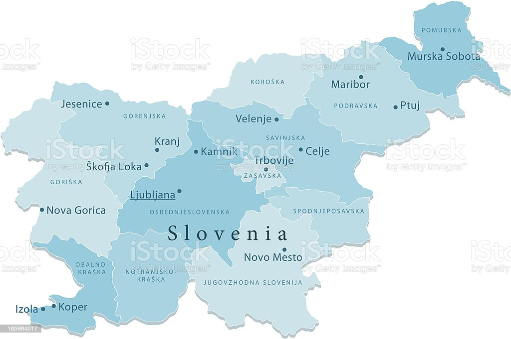 Slovenia Vector Map Regions Isolated vector art illustration