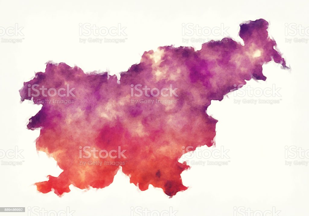Slovenia watercolor map in front of a white background vector art illustration