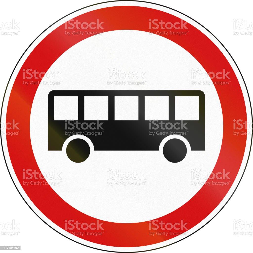 A Slovenian prohibition sign - No buses vector art illustration