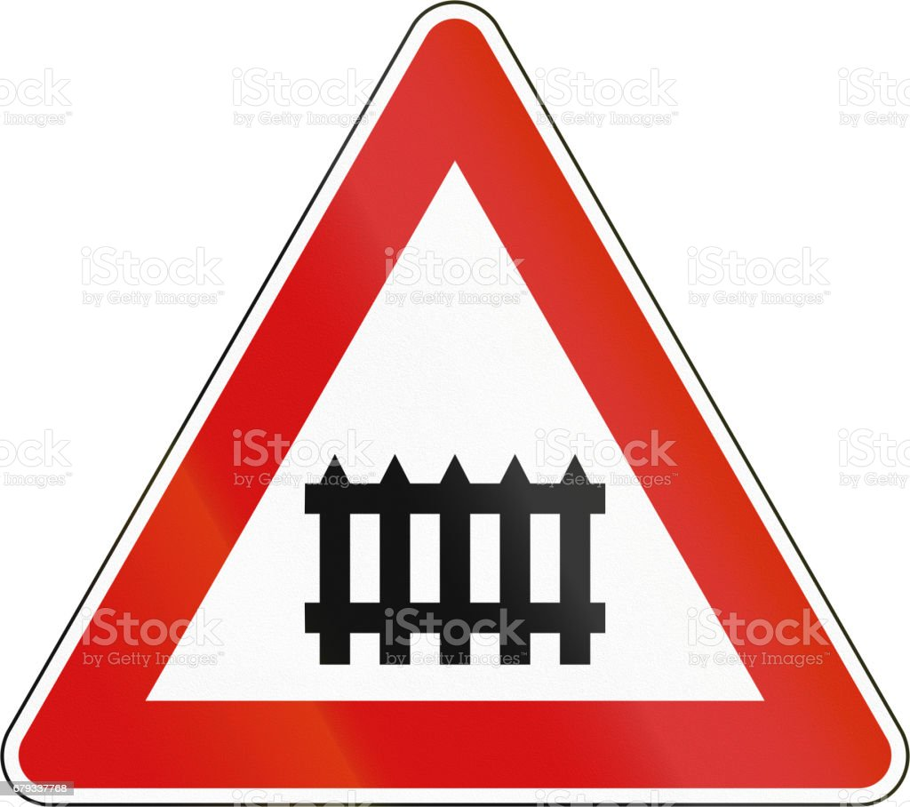 Slovenian road warning sign - Barrier level crossing royalty-free slovenian road warning sign barrier level crossing stock vector art & more images of cut out