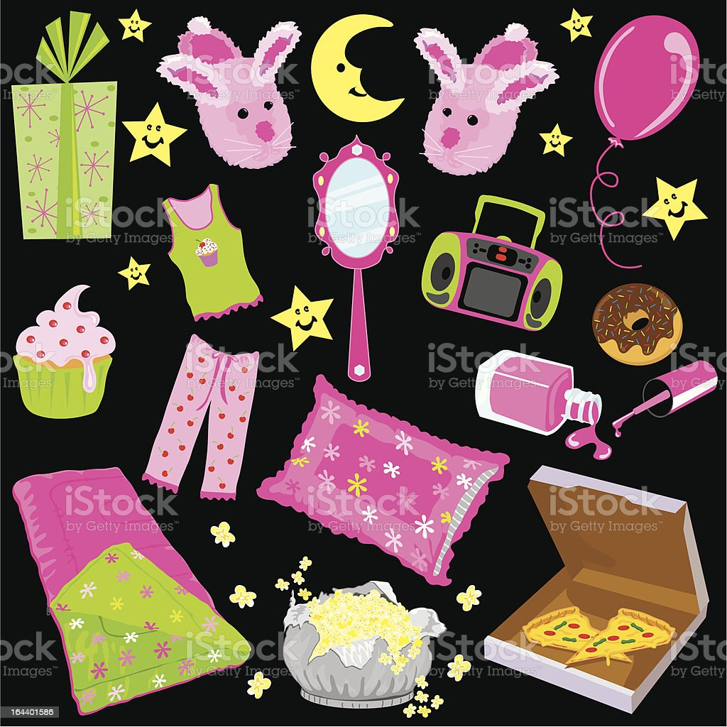 Slumber Birthday Party vector art illustration