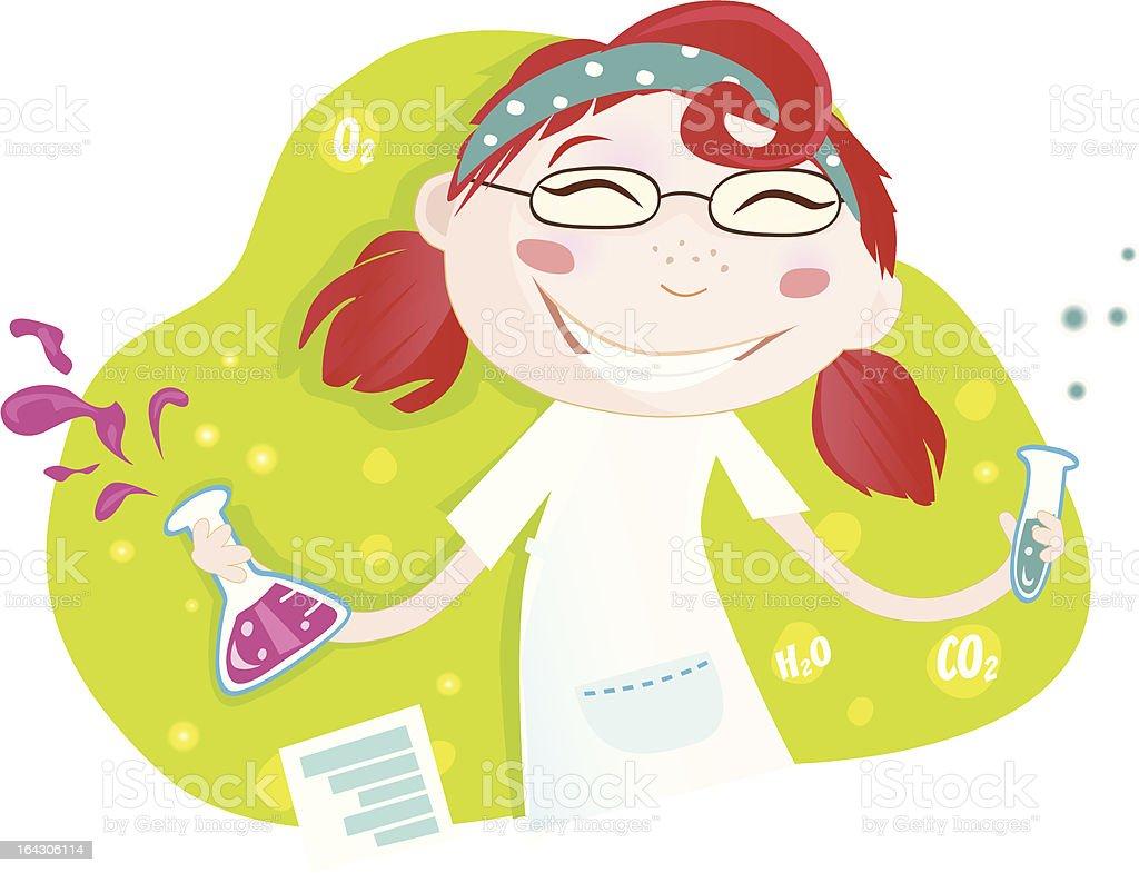 Smal chica en la escuela laboratorio químico - ilustración de arte vectorial