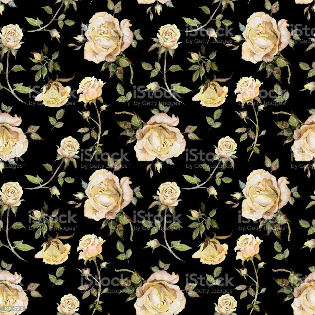 Petite fleur rose beige sur fond noir. Motif floral sans soudure.  Peinture à l'aquarelle. Illustration de dessinés à la main - Illustration vectorielle