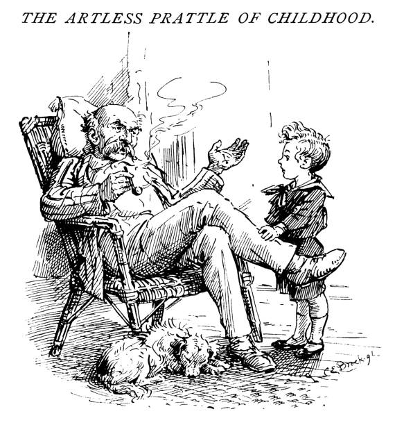 small child chatting with an elderly man - old man smoking pipe cartoons stock illustrations, clip art, cartoons, & icons