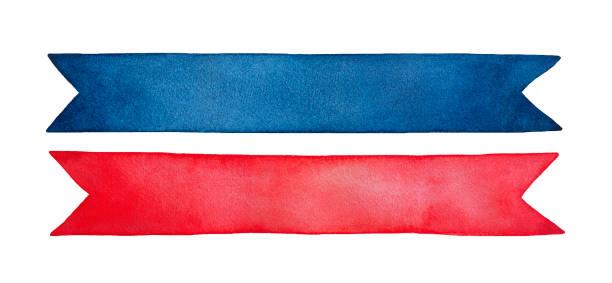 illustrazioni stock, clip art, cartoni animati e icone di tendenza di small collection of two empty decorative ribbons, bright red and dark blue colours. - pezze di stoffa