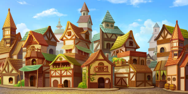 Small Fairy Tale Town. Fiction Backdrop. Concept Art Small Fairy Tale Town. Fiction Backdrop. Concept Art. Realistic Illustration. Video Game Digital CG Artwork. Industry Scenery. village stock illustrations