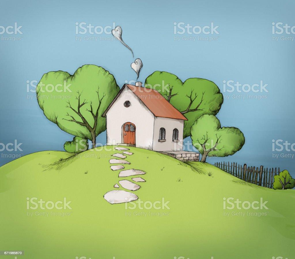 Small house on a green hill – Vektorgrafik