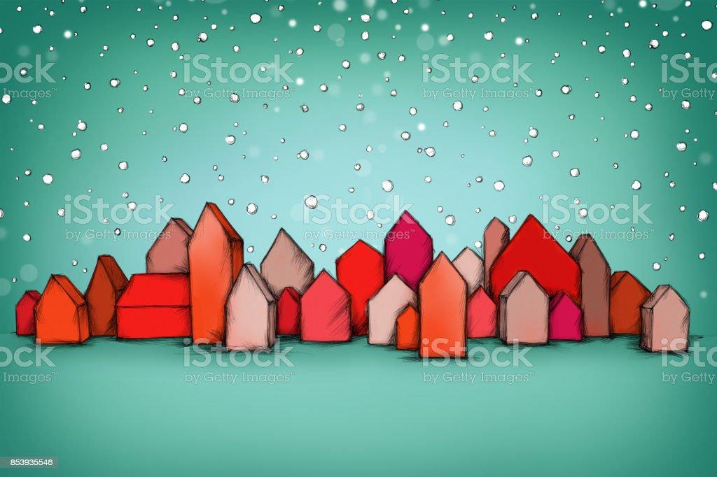 Kleine rote Häuser im Schneesturm – Vektorgrafik
