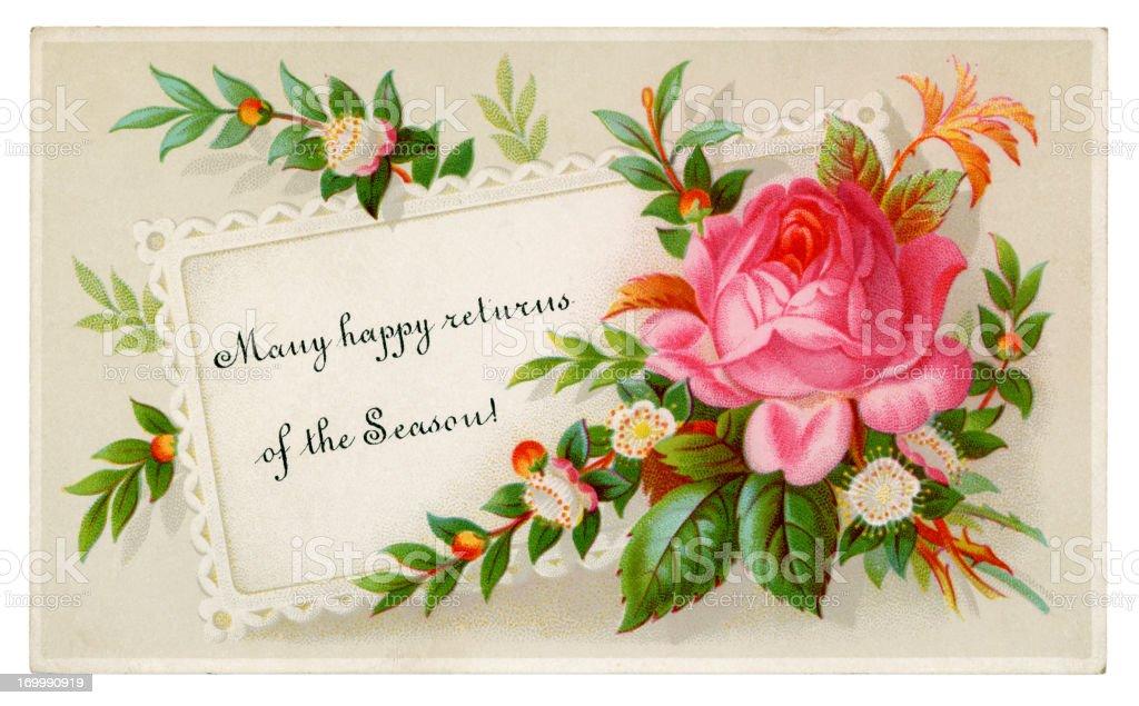 Cartoline Di Natale Vittoriane.Piccola Cartolina Di Natale Floreale In Stile Vittoriano