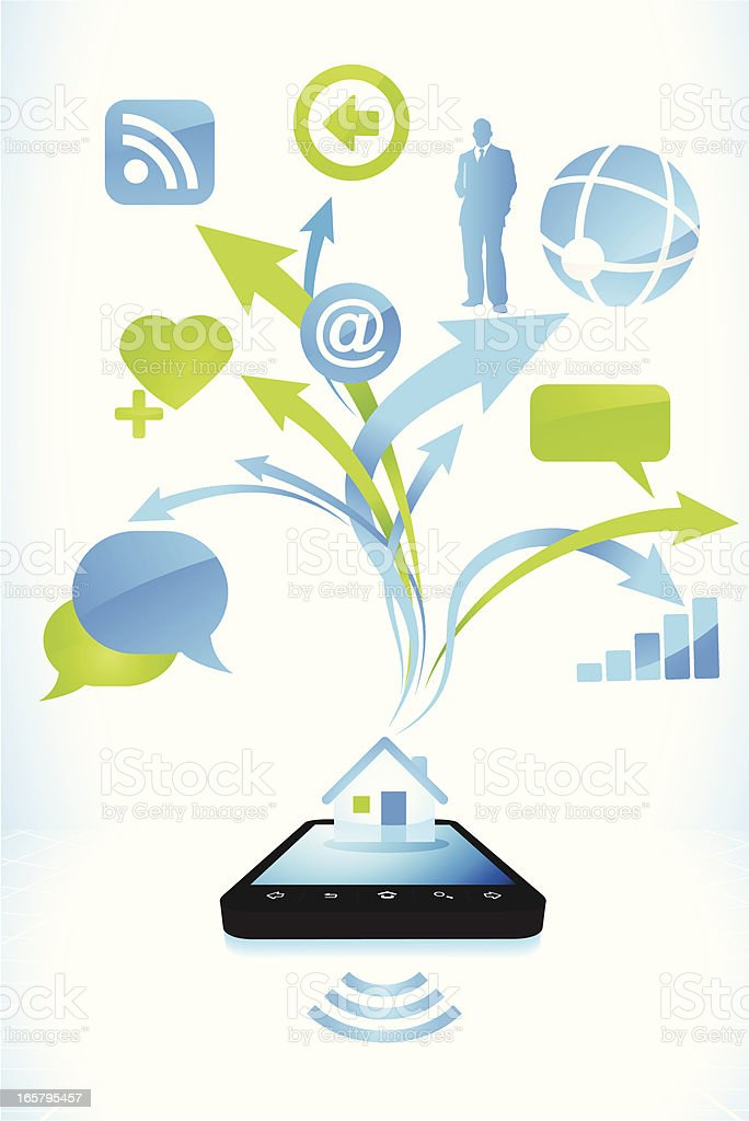 Smart phone possibilities royalty-free stock vector art