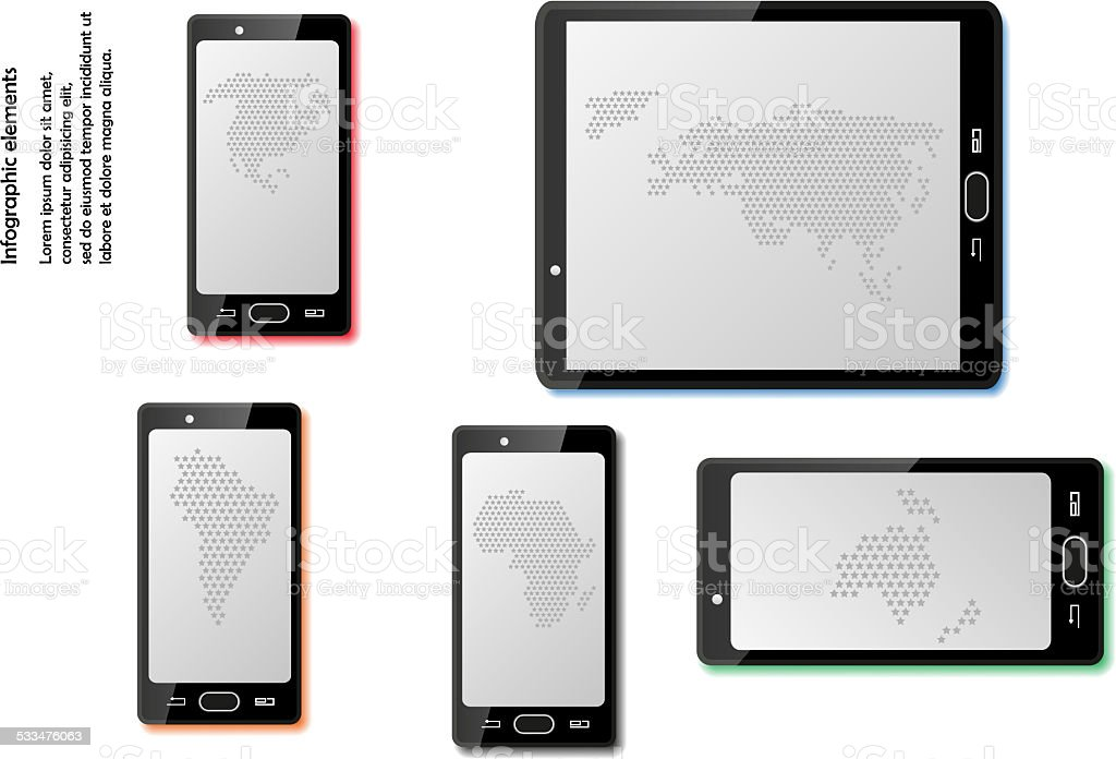 Smart phones with maps vector art illustration