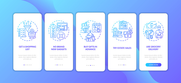 Smart shopping tips onboarding mobile app page screen with concepts