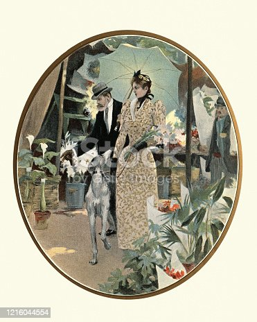 Vintage engraving a Smartly dressed French couple walking though market with their dog, 19th Century