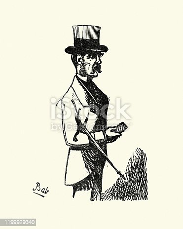 Vintage engraving of Smartly dressed man in top hat. London Characters: Illustrations of the Humour, Pathos, and Peculiarities of London Life. Henry Mayhew