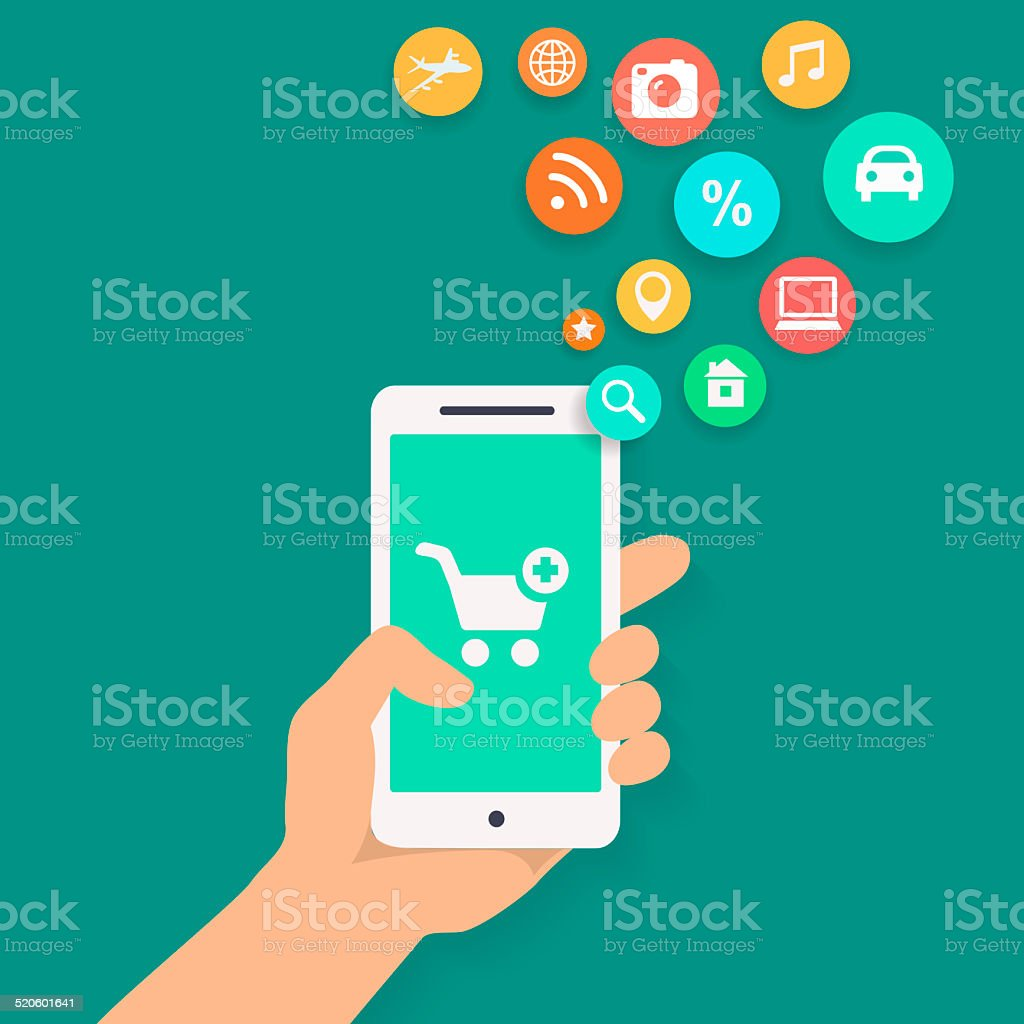 Smartphone apps shopping infographics with  hand holding a phone vector art illustration
