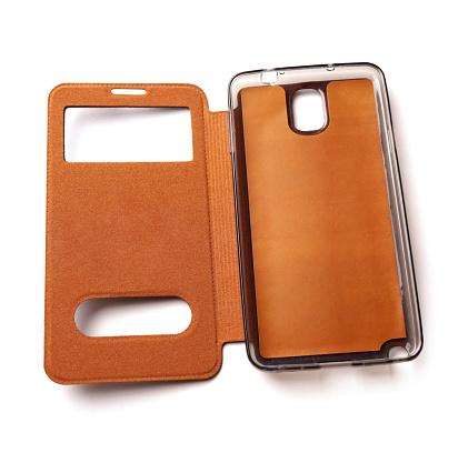 Smartphone leather flip case isolated on white background