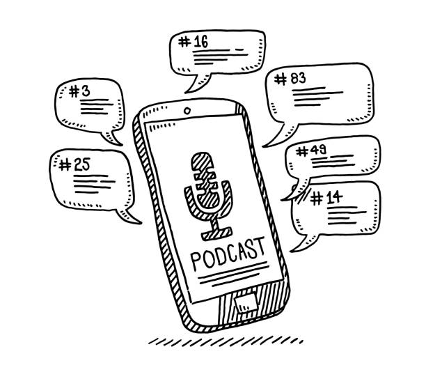 Smartphone Podcast Speech Bubbles Drawing Hand-drawn vector drawing of a Smartphone with a Microphone Podcast Symbol and Speech Bubbles. Black-and-White sketch on a transparent background (.eps-file). Included files are EPS (v10) and Hi-Res JPG. cartoon character figure stock illustrations