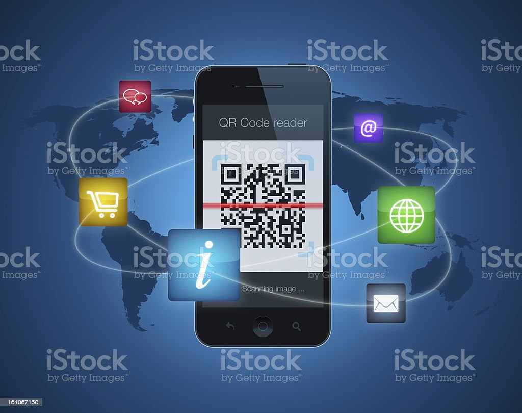 Smartphone with QR code reader royalty-free stock vector art