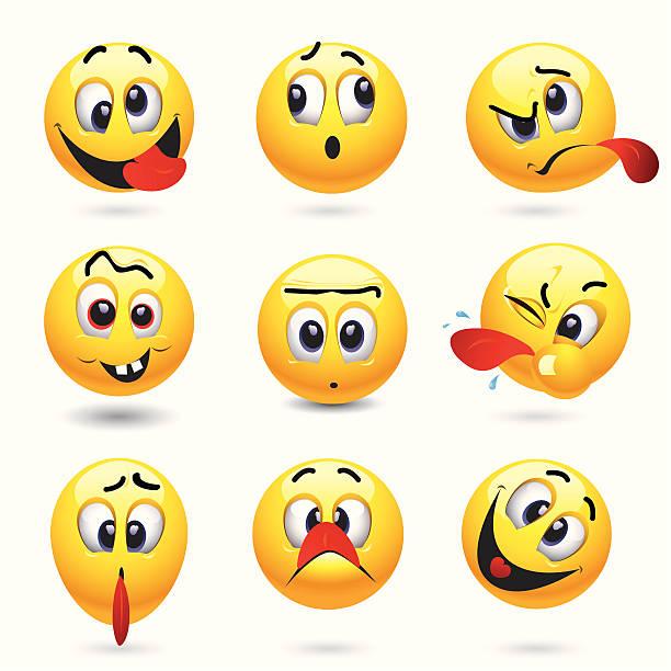 smiley-ball - smileys zum kopieren stock-grafiken, -clipart, -cartoons und -symbole