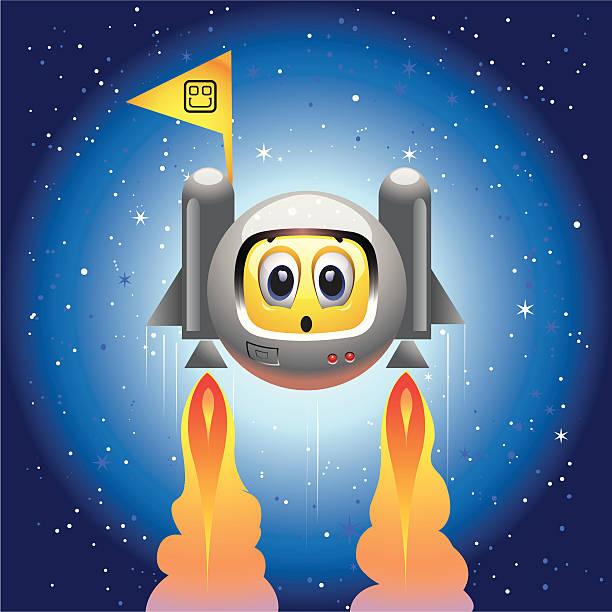 ilustraciones, imágenes clip art, dibujos animados e iconos de stock de smiley de bola - emoji emocionado