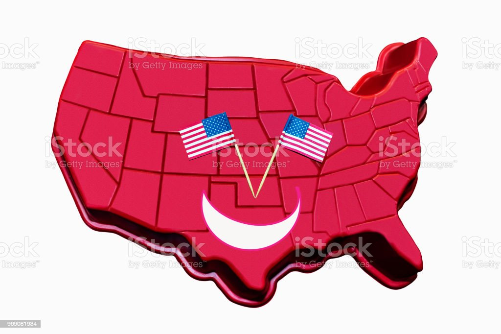 Smiley Face 3d United States Map With Flags As Eyes Isolated On ...