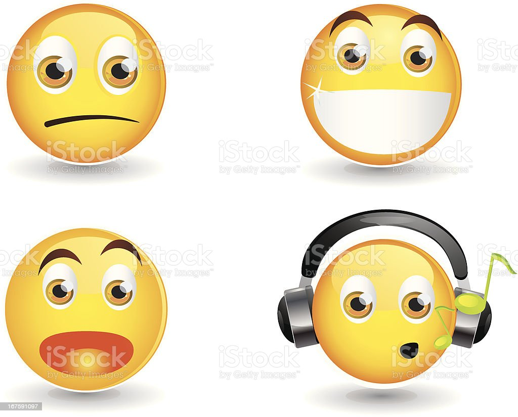 Smiley Face Set 1 vector art illustration