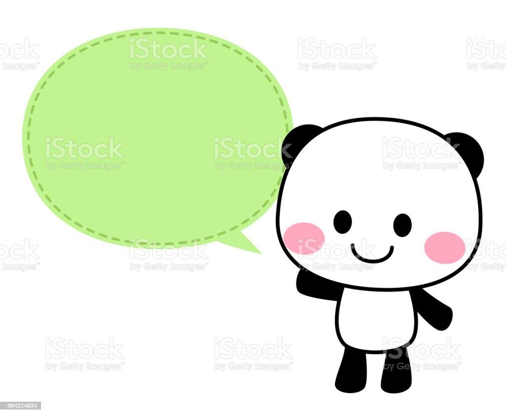 A smiley panda character and a speech balloon vector art illustration