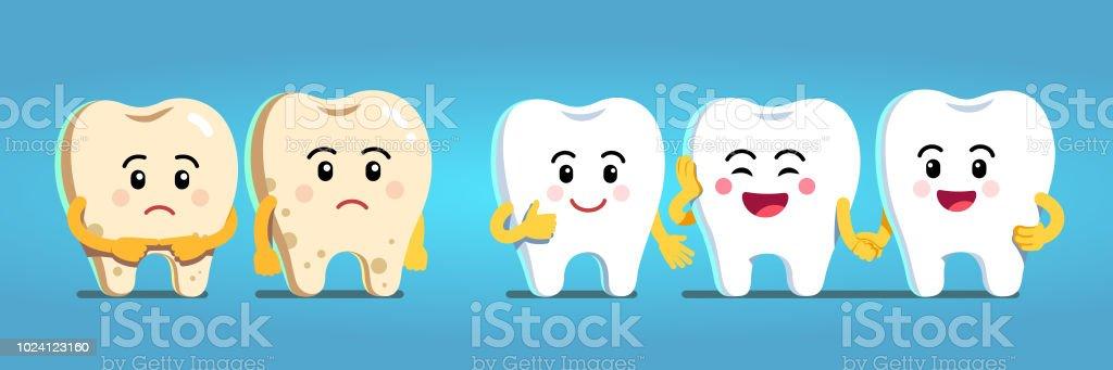 Vetores De Sorridente E Chateado Caracteres De Dentes De Desenho