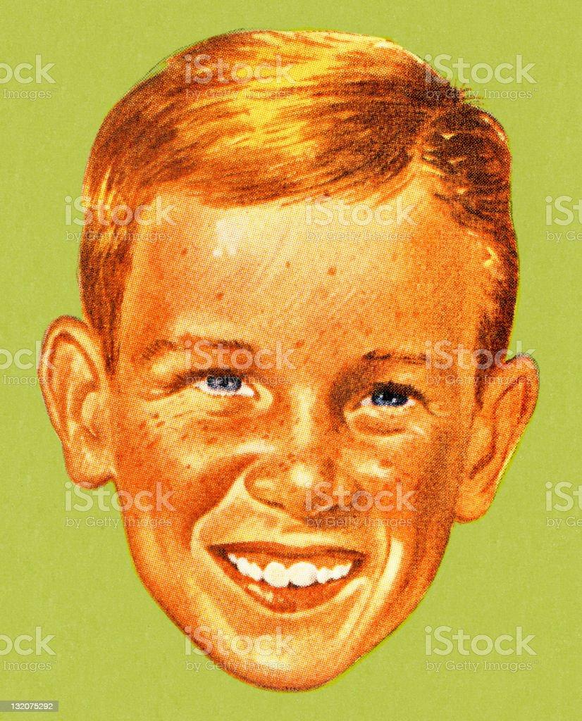 Smiling Boy vector art illustration
