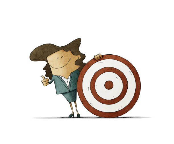 Smiling business woman, is next to a big target. talent search concept. isolated vector art illustration