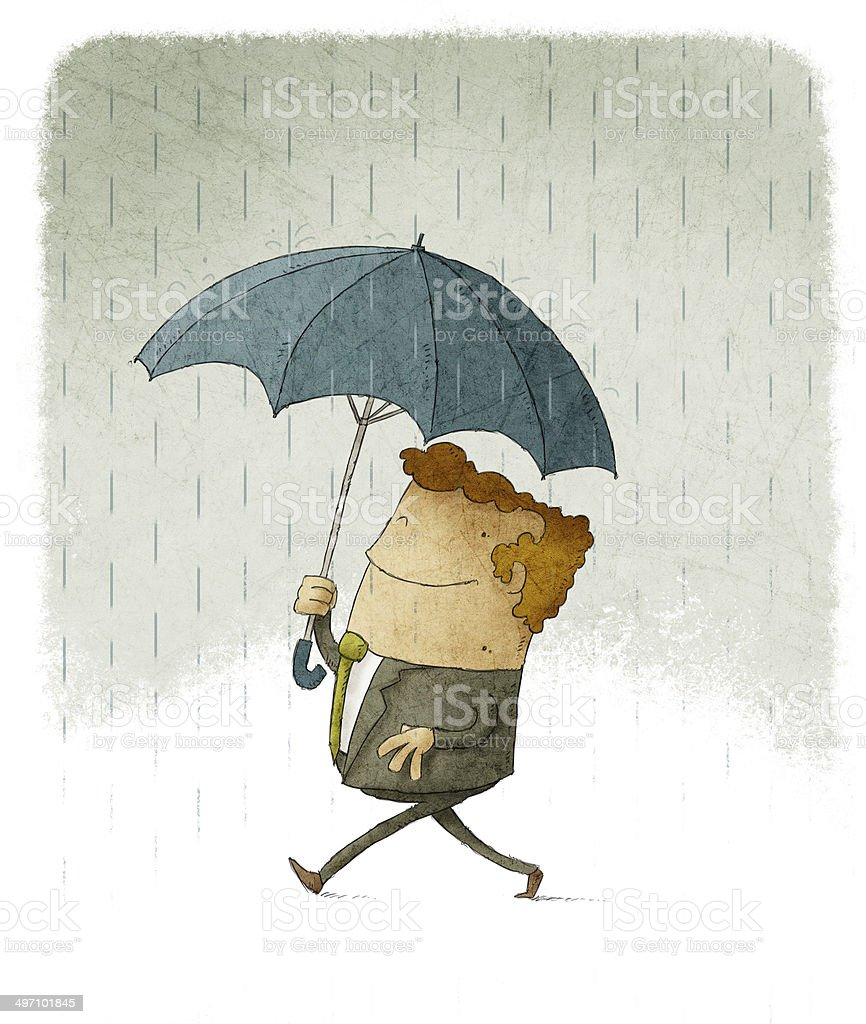 Smiling businessman in the rain under an umbrella. vector art illustration