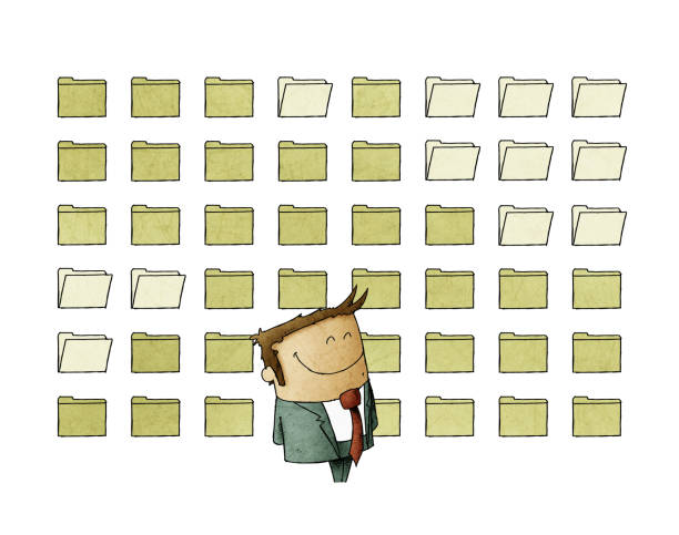 Smiling businessman is standing in front of a background full of digital files. isolated vector art illustration