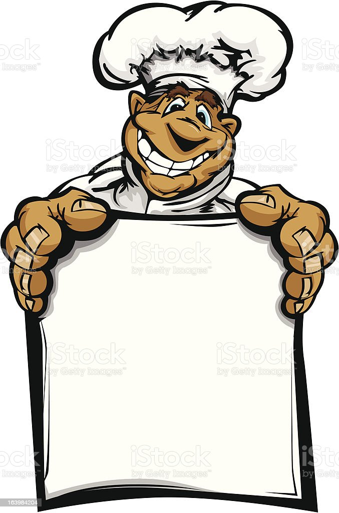 Smiling Cartoon Kitchen Chef with Hat Holding Menu Sign royalty-free smiling cartoon kitchen chef with hat holding menu sign stock vector art & more images of adult
