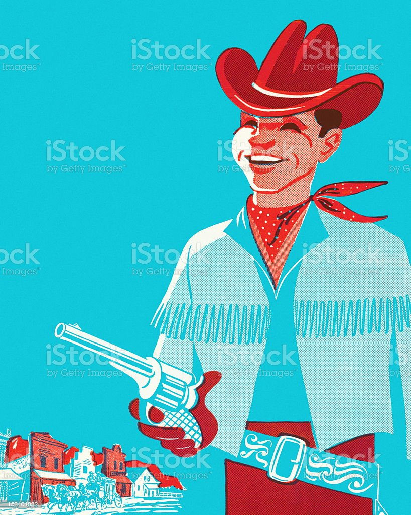 Smiling Cowboy Holding Gun royalty-free stock vector art