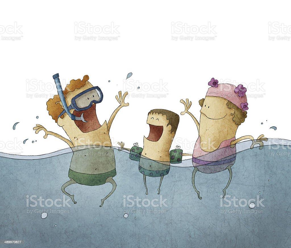 Smiling family enjoying in the pool vector art illustration