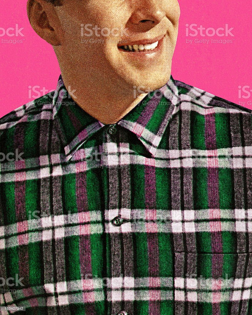 Smiling Man in Plaid Shirt vector art illustration