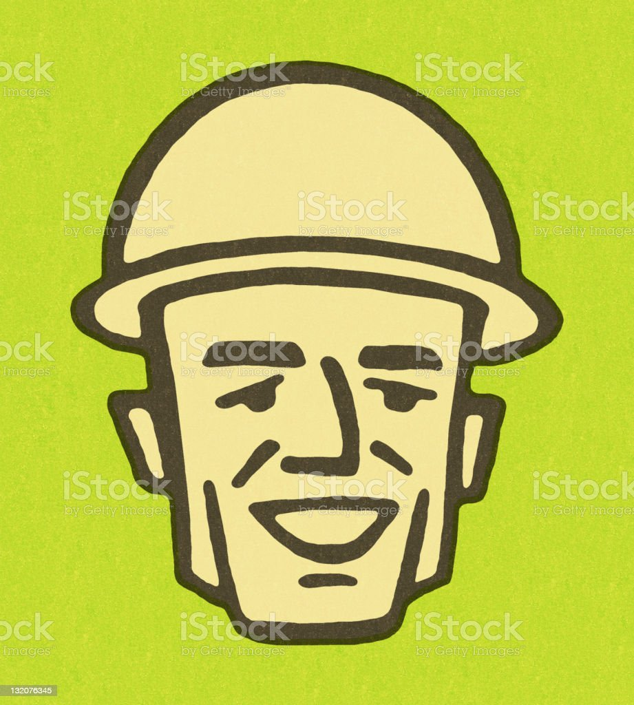 Smiling Man Wearing Hardhat royalty-free stock vector art