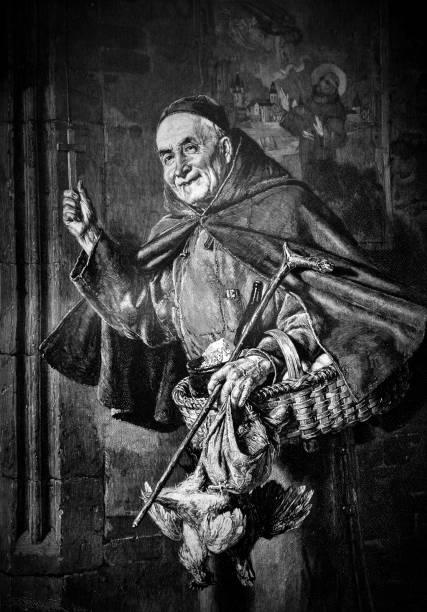 ilustraciones, imágenes clip art, dibujos animados e iconos de stock de monje de sonrisa mantiene la cruz y el cubo con el alimento en sus manos - 1896 - hermano