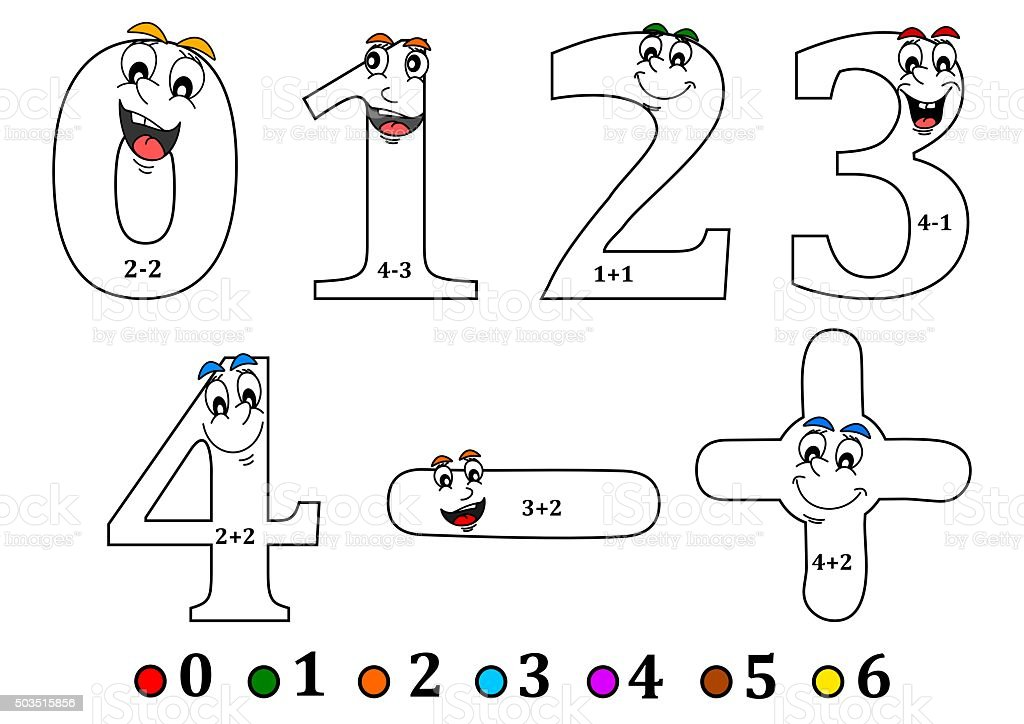 Smiling numbers for coloring as counting for kids coloring for Numeri da colorare e stampare