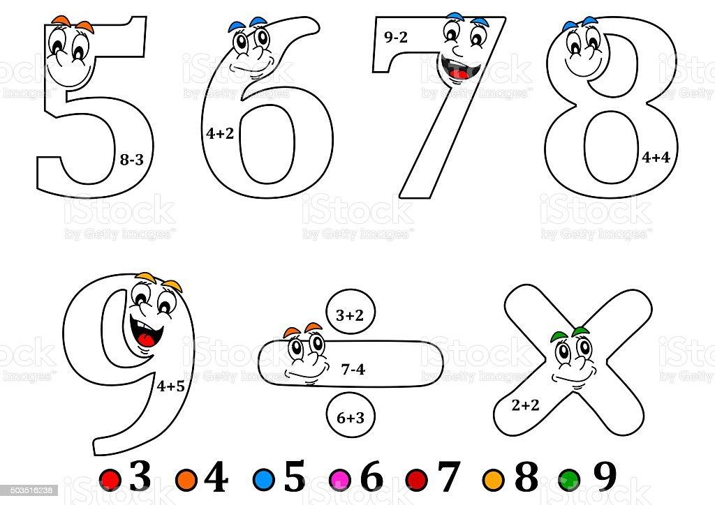 Ilustración De Sonriendo Para Colorear Como De Los Números De Cuenta