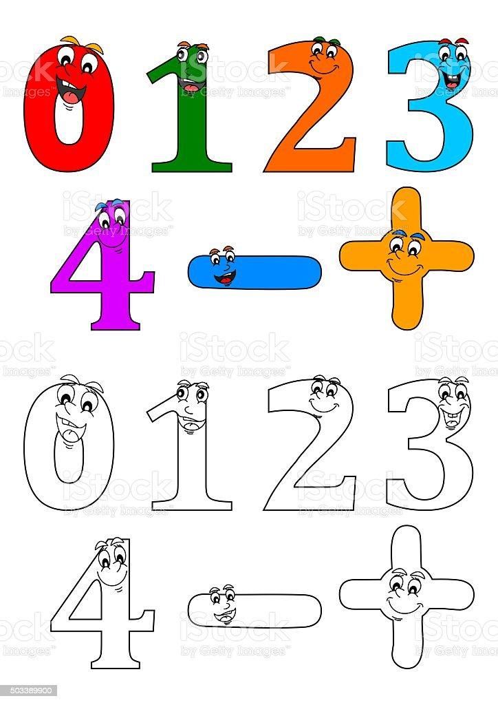 Ilustración de Sonriendo Para Colorear Números Como Libros Para ...
