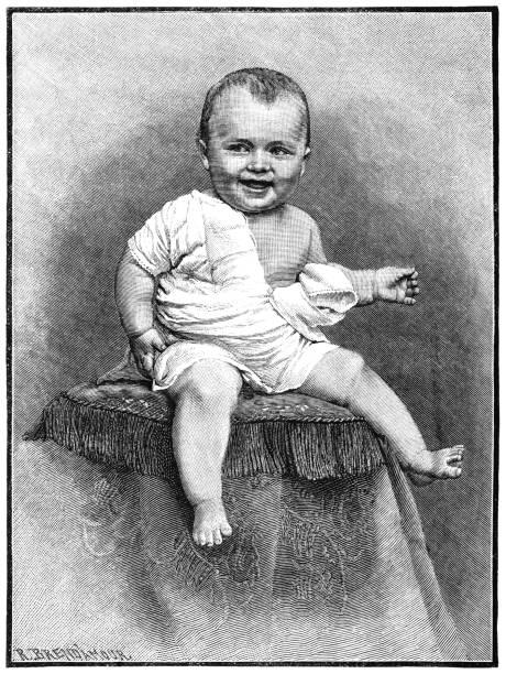 stockillustraties, clipart, cartoons en iconen met victoriaanse jongetje glimlachend - alleen één jongensbaby