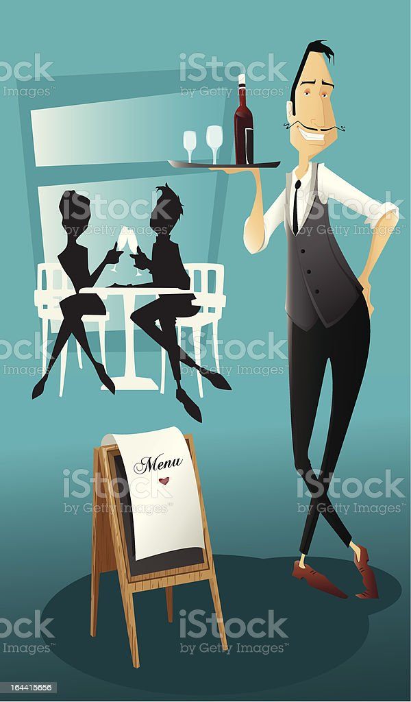Smiling waiter bringing wine. royalty-free smiling waiter bringing wine stock vector art & more images of adult