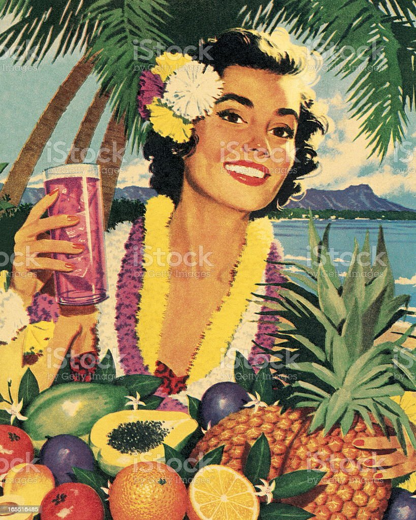 Smiling Woman and Tropical Fruit vector art illustration