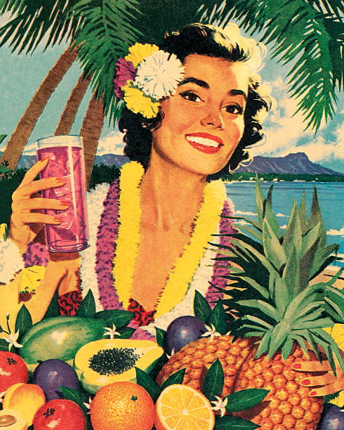 smiling woman and tropical fruit - hawaiian lei stock illustrations, clip art, cartoons, & icons