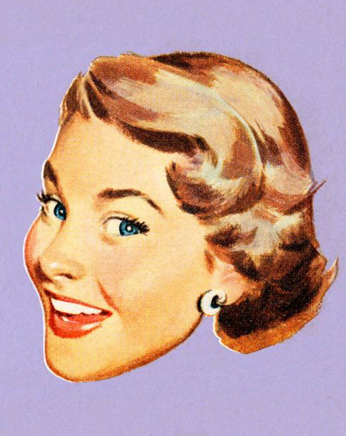 ilustraciones, imágenes clip art, dibujos animados e iconos de stock de mujer sonriente - ojos azules