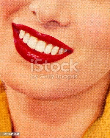 Smiling Woman Wearing Red Lipstick