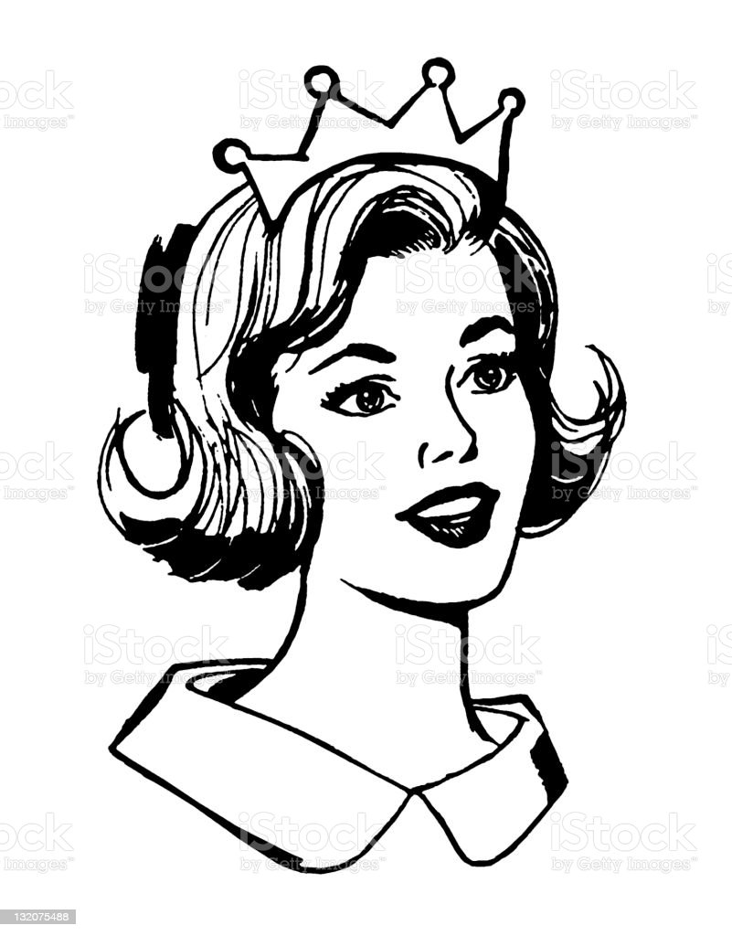Smilng Woman Wearing Crown vector art illustration