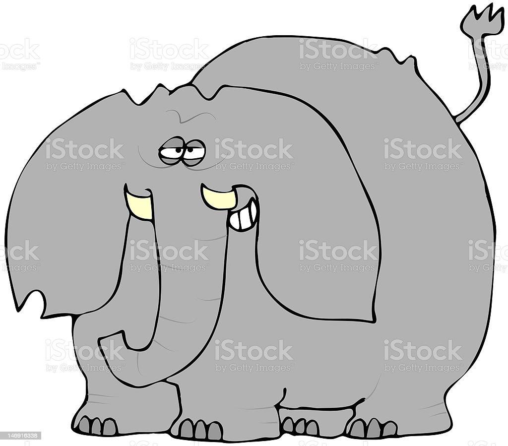 Smirking Elephant vector art illustration